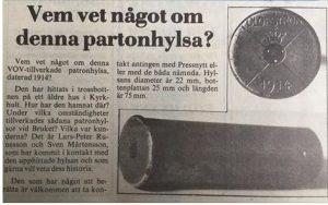 Jägarskolan på besök Jaktia i Svängsta. patronhylsa till Gevär på bild..